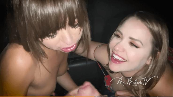 Mia Malkova en Riley Reid neuken een vreemde in de garage